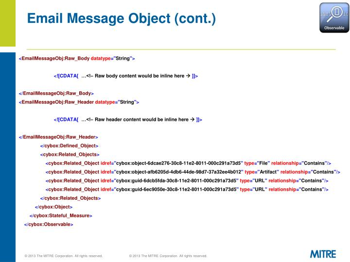 Email Message Object (cont.)
