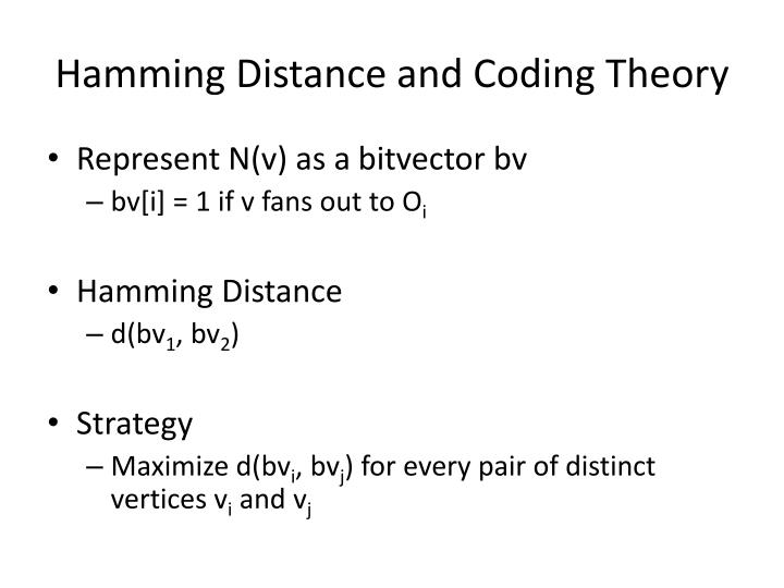 Hamming Distance and Coding Theory