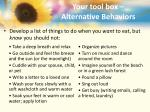 your tool box alternative behaviors