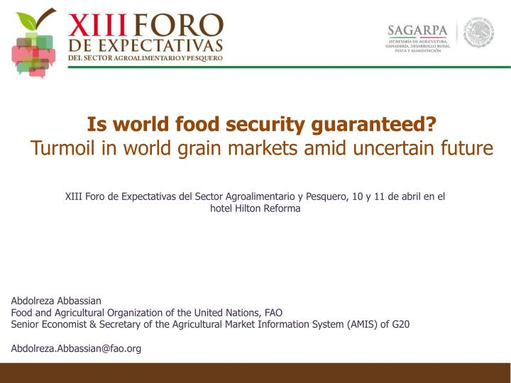 is world food security guaranteed turmoil in world grain markets amid uncertain future