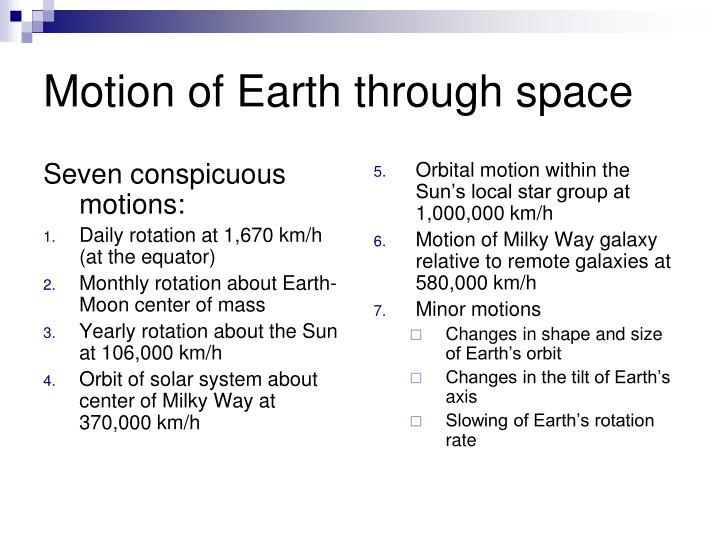 Motion of earth through space