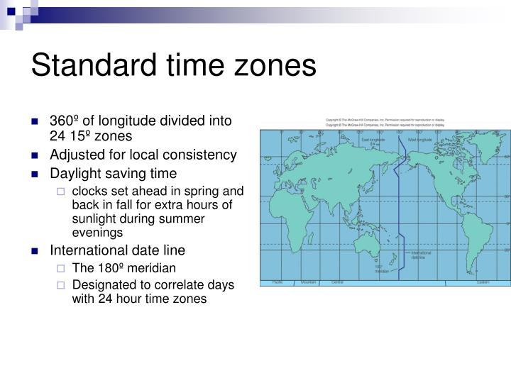 Standard time zones