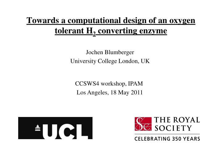 towards a computational design of an oxygen tolerant h 2 converting enzyme n.