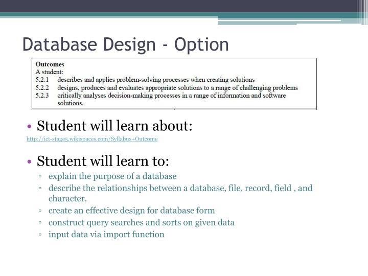 Database design option