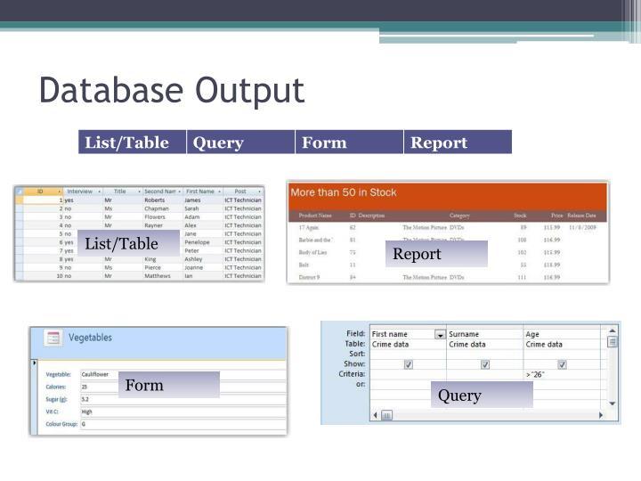 Database Output