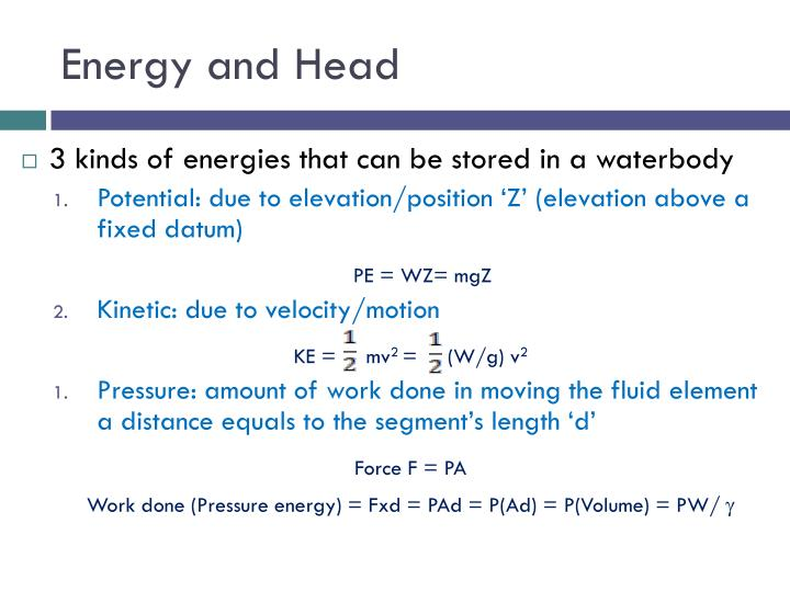 Energy and Head