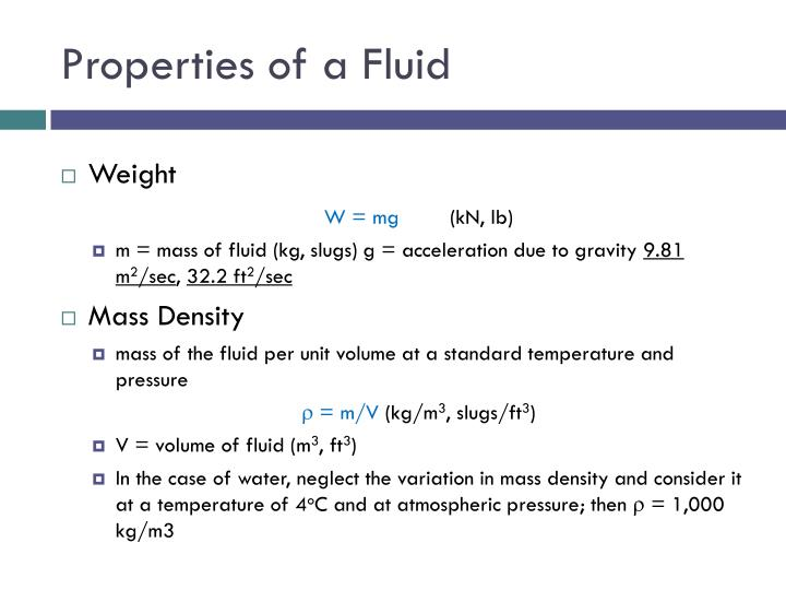 Properties of a Fluid