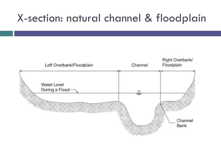 X-section: natural channel & floodplain