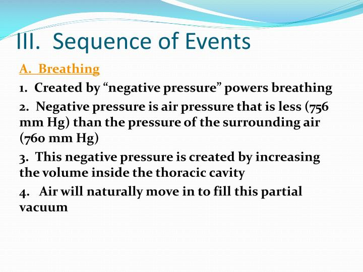 III.  Sequence of Events