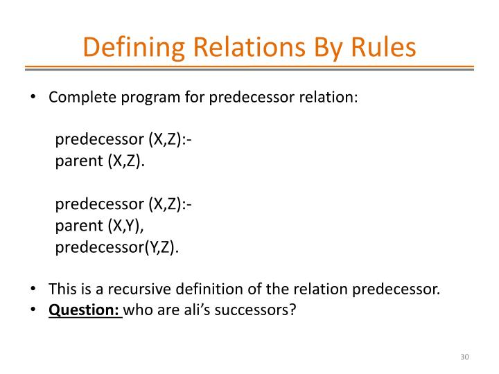 Defining Relations By Rules