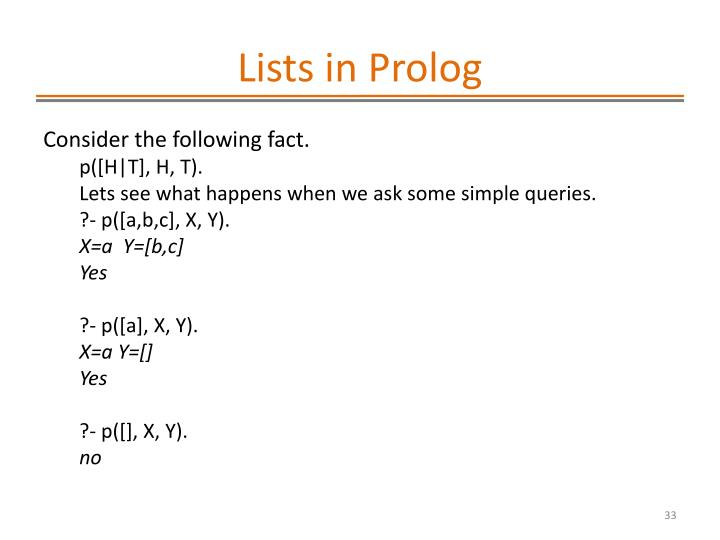 Lists in Prolog