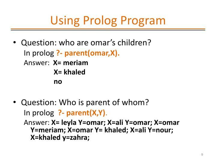 Using Prolog Program