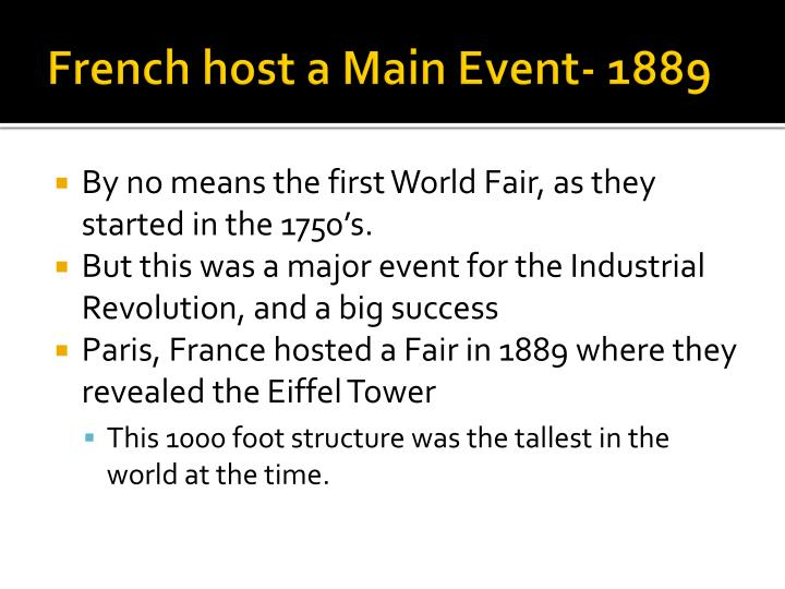 French host a Main Event- 1889