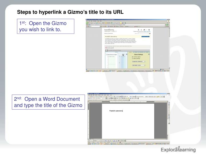 Steps to hyperlink a Gizmo's title to its URL