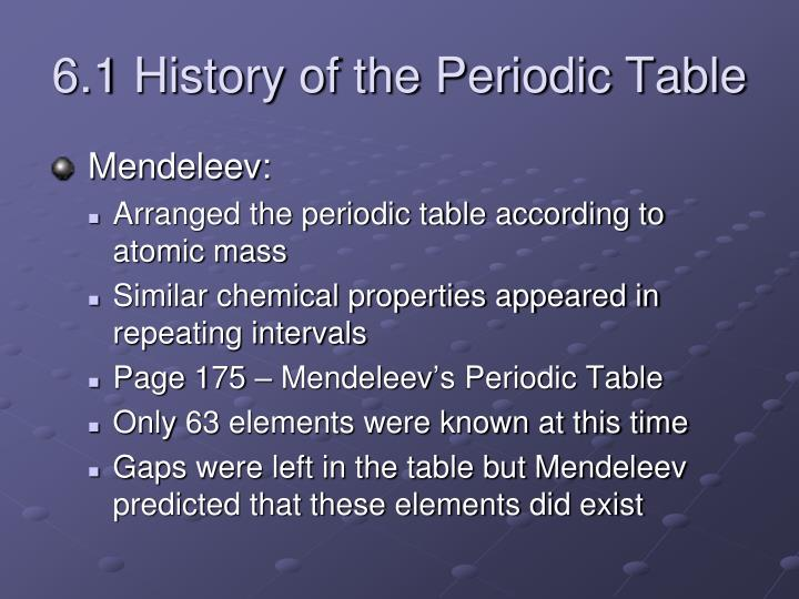 Ppt chapter 6 powerpoint presentation id2431652 61 history of the periodic table urtaz Images