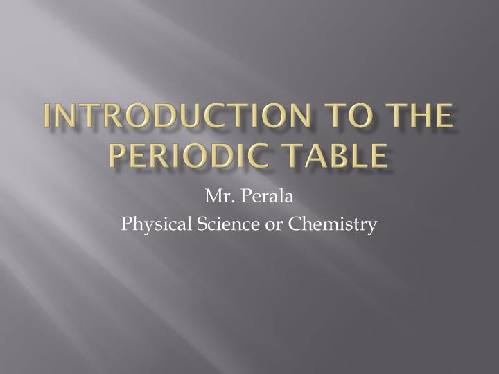 introduction to the periodic table n.