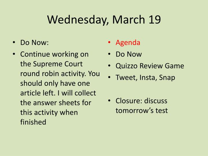 wednesday march 19 n.