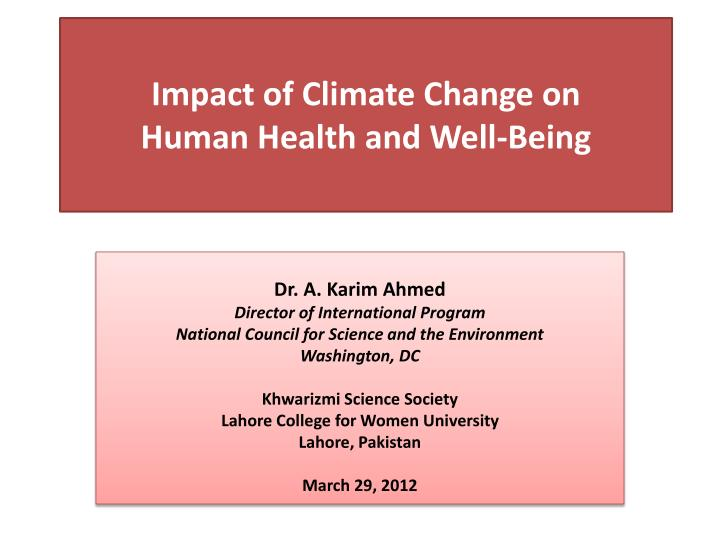 impact of climate change on human health and well being n.