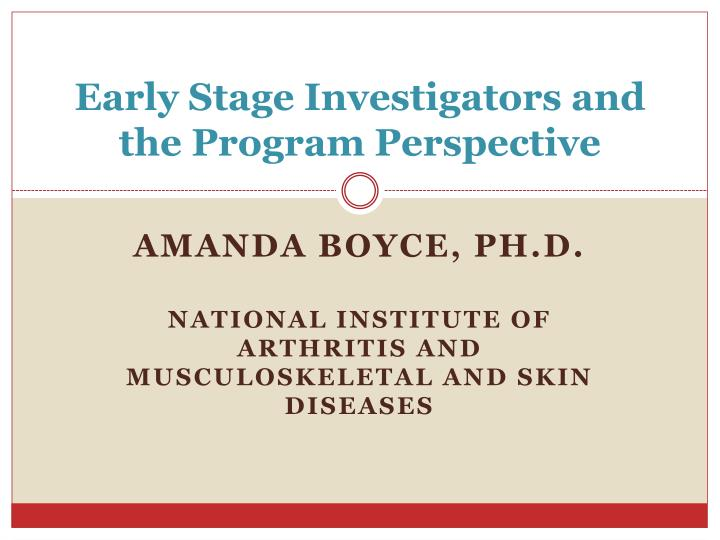 early stage investigators and the program perspective n.