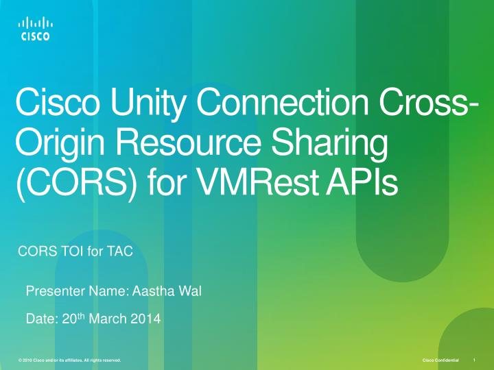 cisco unity connection cross origin resource sharing cors for vmrest apis n.