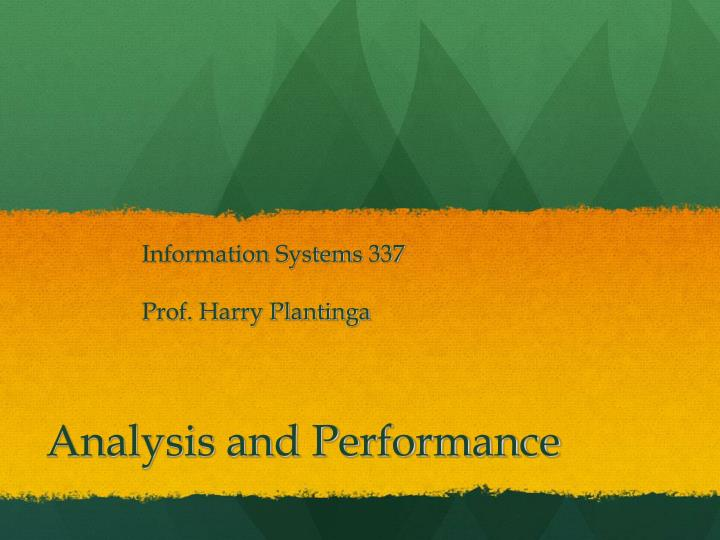 analysis and performance n.