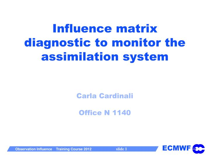 influence matrix diagnostic to monitor the assimilation system carla cardinali office n 1140 n.