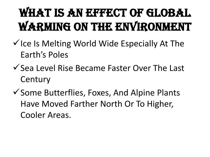 What Is An Effect Of Global Warming On The environment