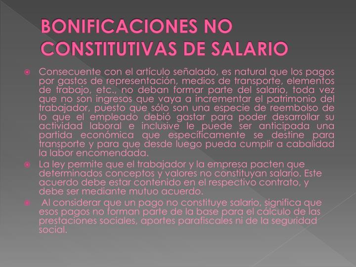 BONIFICACIONES NO CONSTITUTIVAS DE SALARIO