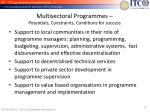 multisectoral programmes potentials constraints conditions for success