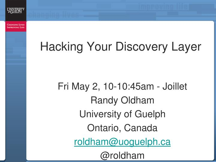 hacking your discovery layer n.