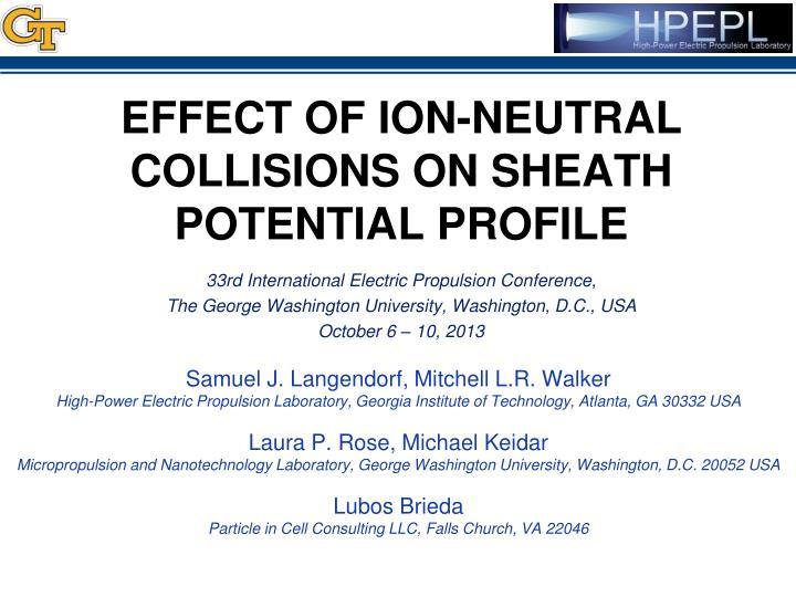 effect of ion neutral collisions on sheath potential profile n.