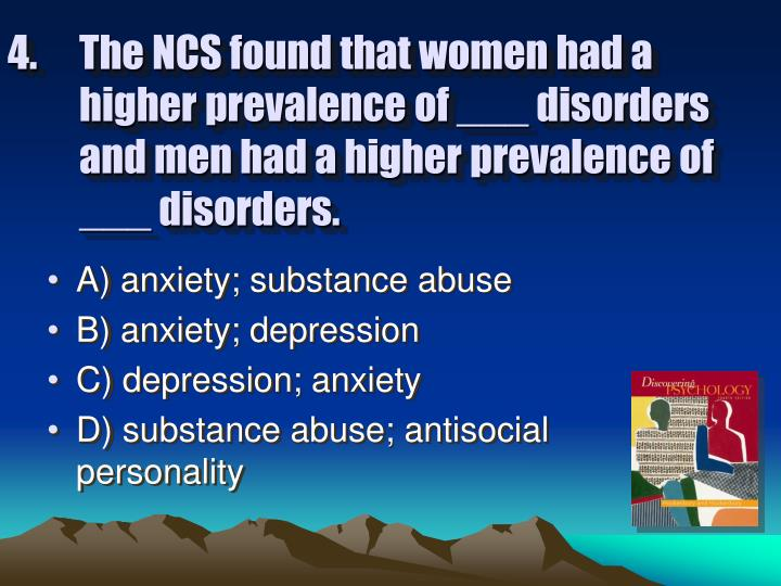 The NCS found that women had a higher prevalence of ___ disorders and men had a higher prevalence of ___ disorders.