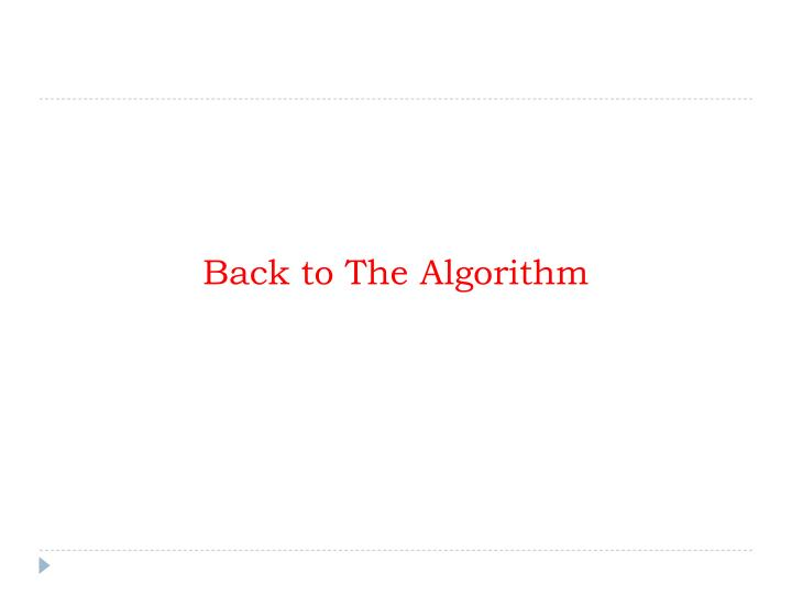 Back to The Algorithm