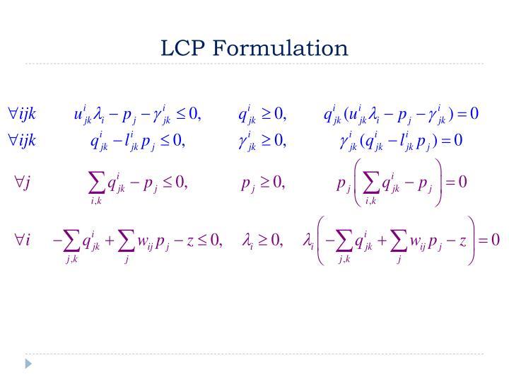 LCP Formulation