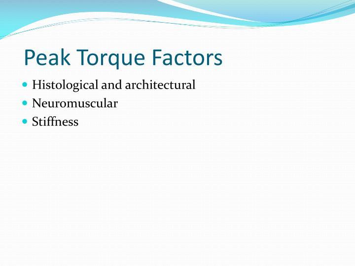 Peak torque factors