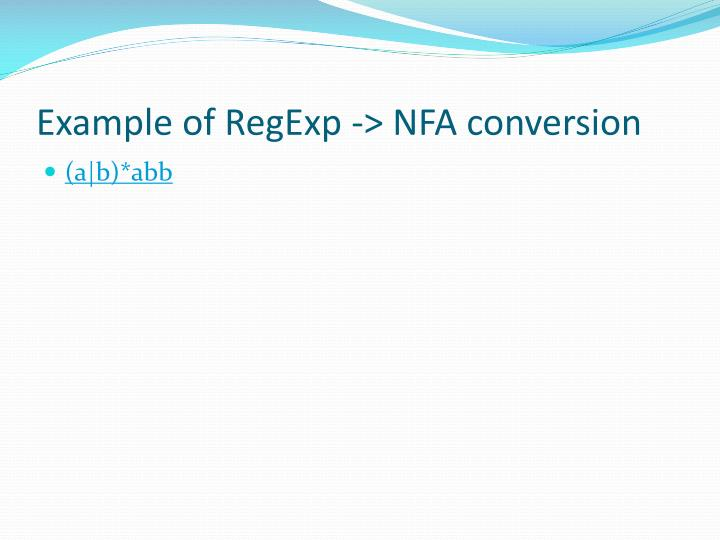 Example of RegExp -> NFA conversion