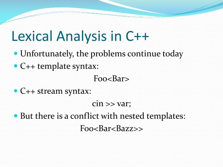 Lexical Analysis in C++