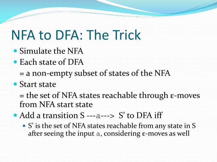 NFA to DFA: The Trick
