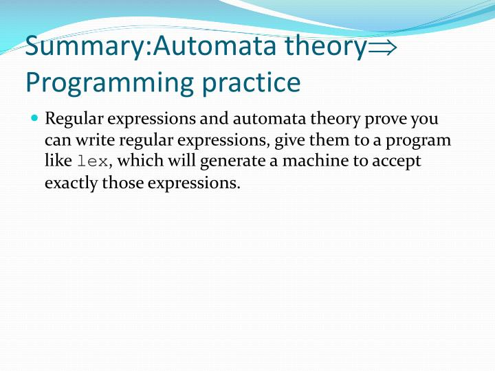 Summary:Automata theory