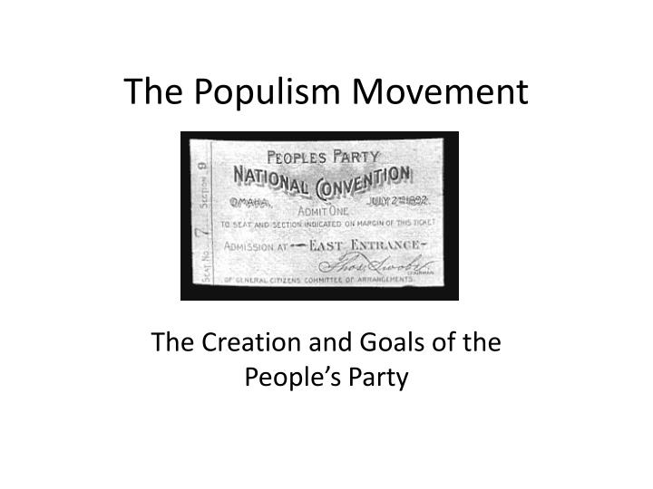 the populist movement the value of The populist backlash, one suspects, still has a long way to run lse ideas is the lse's foreign policy think tank we connect academic knowledge of diplomacy and strategy with the people who.