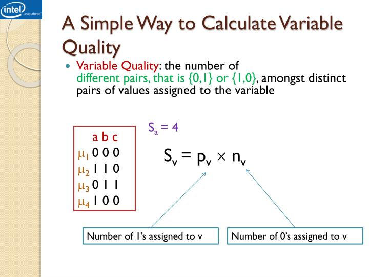 A Simple Way to Calculate Variable Quality