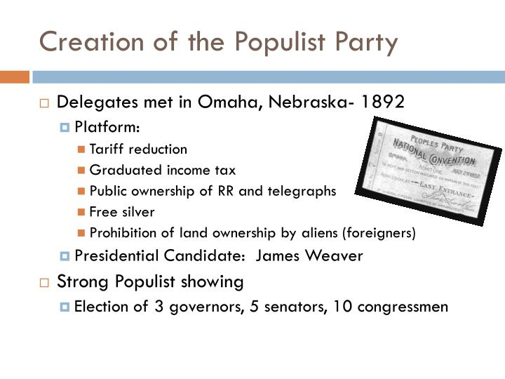 Creation of the Populist Party