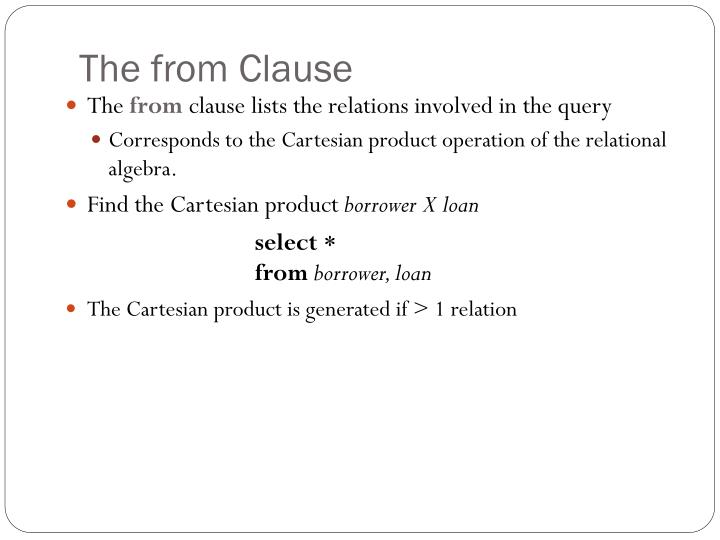 The from Clause
