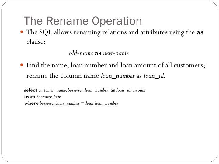 The Rename Operation
