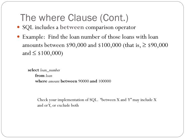 The where Clause (Cont.)