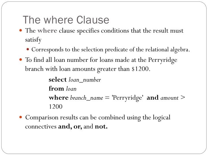 The where Clause