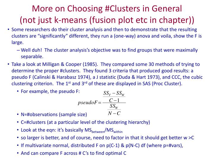 more on choosing clusters in general not just k means fusion plot etc in chapter n.