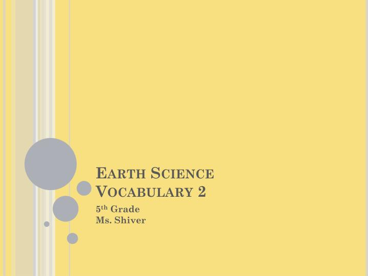 earth science vocabulary 2 n.