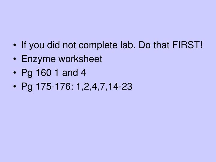 If you did not complete lab. Do that FIRST!