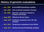history of genomic evaluations